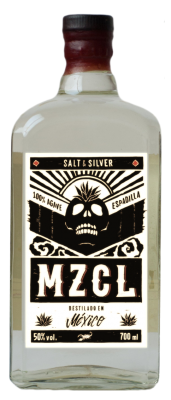 "This is a bottle of Dr. Sours Mexican Bitters and Mezcal ""MZCL"" in a special 'Salt & Silver' design"
