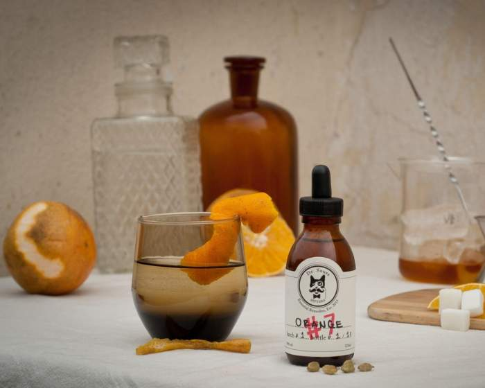 This is a bottle of Dr. Sours Mexican Cocktail Bitter #7 - Orange