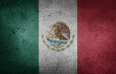 This is a pictuer of the Mexican flag in washed out design.