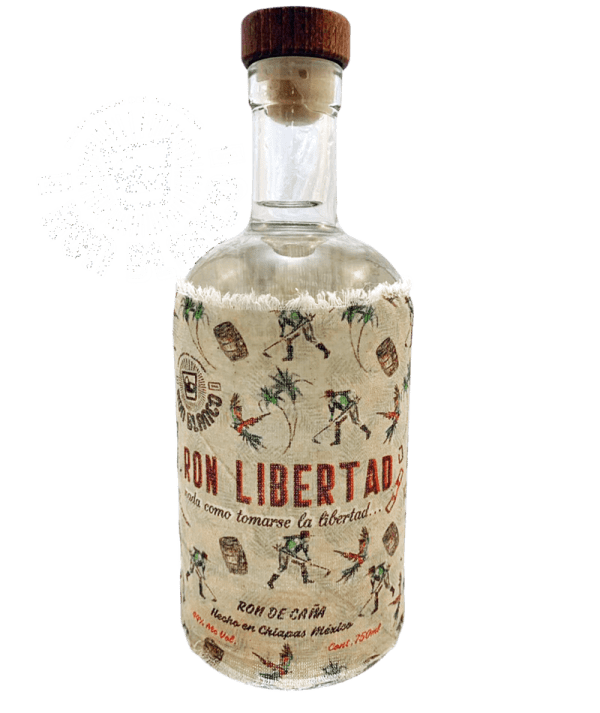 "Bottle of ""Ron Libertad"", a Mexican White Rum, in front of a transparent background"