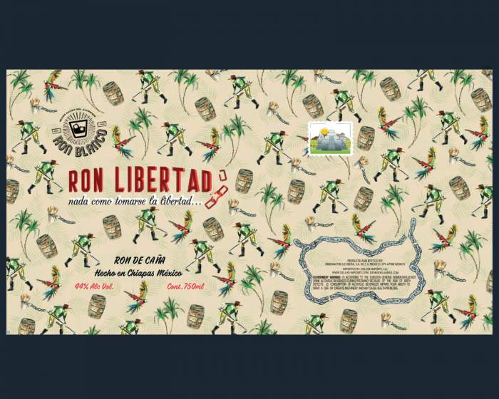 """This is the colorful bottle label of """"Ron Libertad"""", an exclusive Mexican White Rum, that is distributed in Europe by Dr. Sours"""