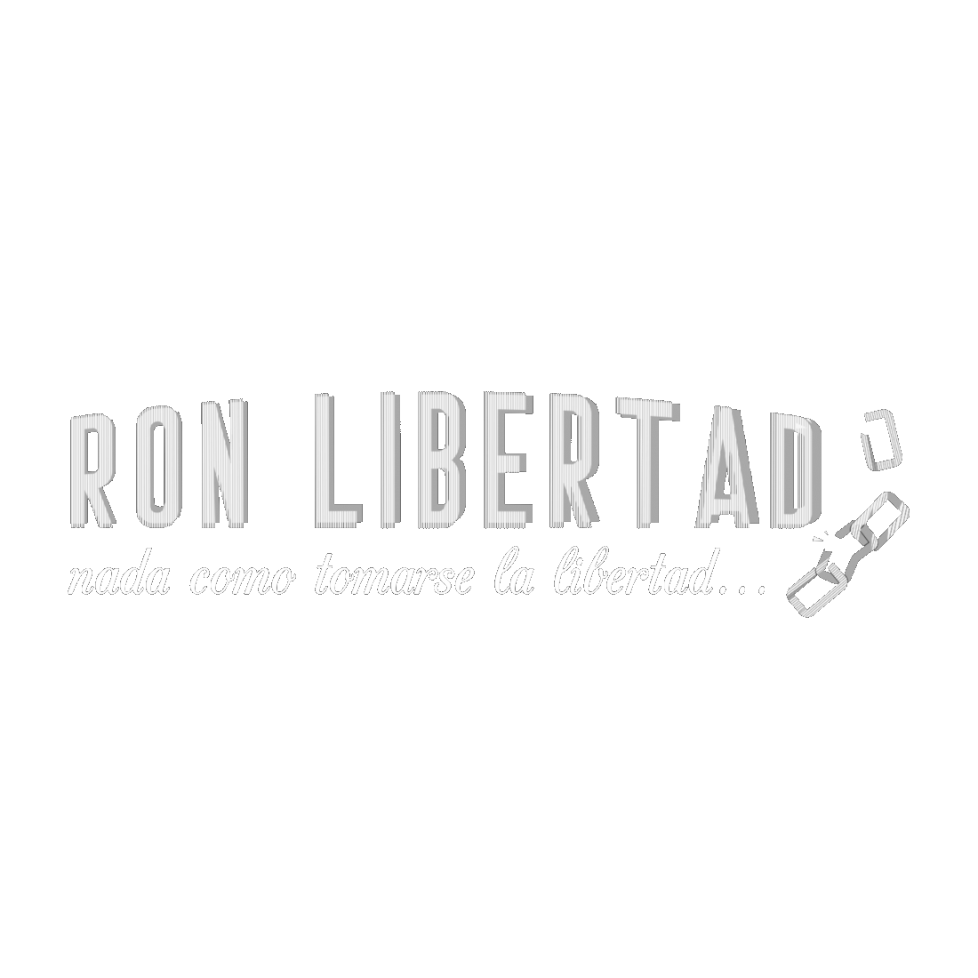 """This is the white logo of """"Ron Libertad"""", an exclusive Mexican rum that is distributed in Europe by Dr. Sours"""
